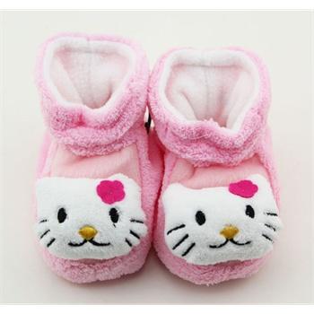 公主妈妈 卡通动物婴儿毛绒袜子 宝宝保暖软底鞋 冬天毛绒保暖袜子