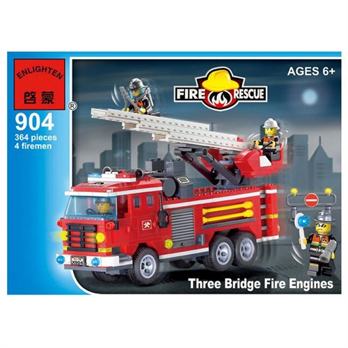 乐高式拼装积木玩具 消防系列三桥消防车