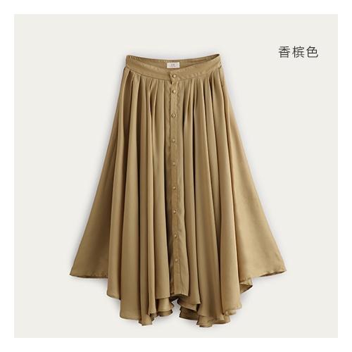 超大摆轻柔飘逸半身裙 纯色雪纺高贵丝滑长裙 326201079_香槟色,m(165