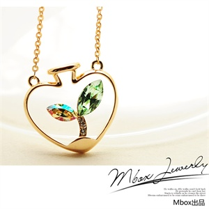 【品牌直供】【Mbox】项链 女 采用施华洛世奇元素水晶 韩版时尚 心形原创爱情草