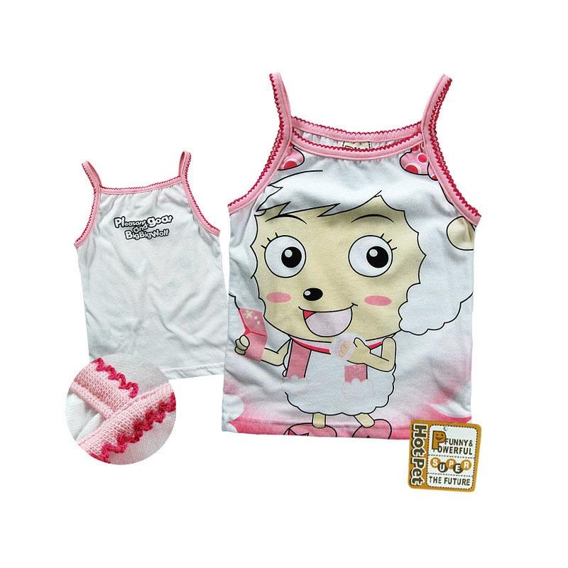 煜婴坊夏季童装 可爱卡通美羊羊印花女童夏季吊带衫_8026,90cm建议95
