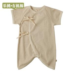乐桃有机棉 婴儿棉毛布斜襟系带蝴蝶爬服 宝宝连体衣 新生儿哈衣