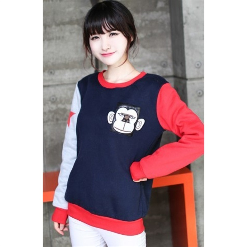 杰塞威斯 新款韩版套头抓绒卡通猴子保暖圆领长袖卫衣外套 al-s8930