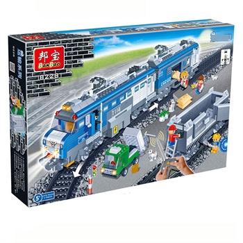 邦宝积木玩具 乐高式邦宝拼插积木益智教玩具 遥控货运火车8228