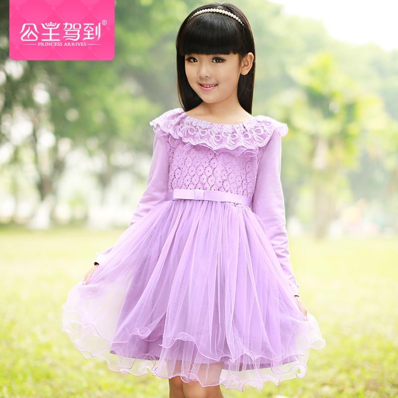 蝴蝶结蕾丝花边长袖连衣裙