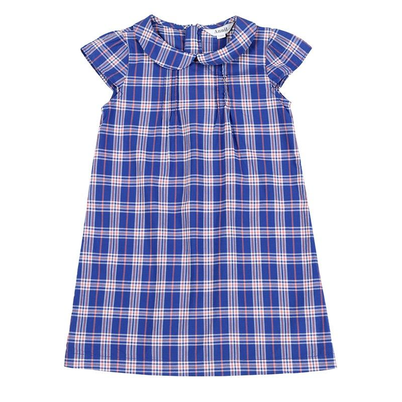 2014夏装新款 连衣裙 翻领梭织连衣裙 eg423190_柏林蓝橙暮光长条格