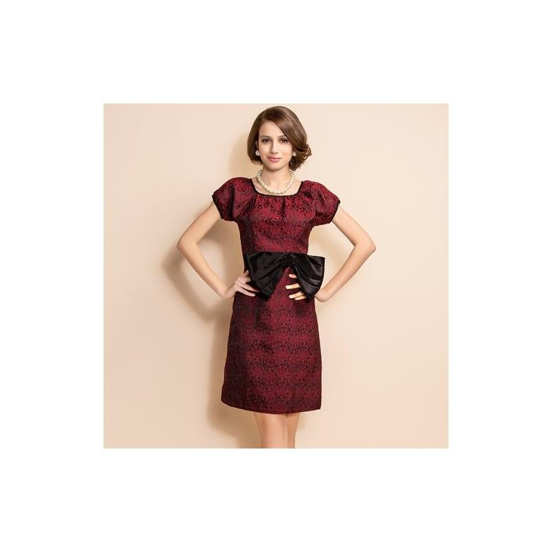 【ts裙装】ts 复古优雅肌理感花纹修身蝴蝶连衣裙