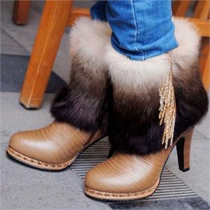 瑞思皮尔2012秋冬新款 真皮防水台高跟皮草女士时尚毛毛短靴子