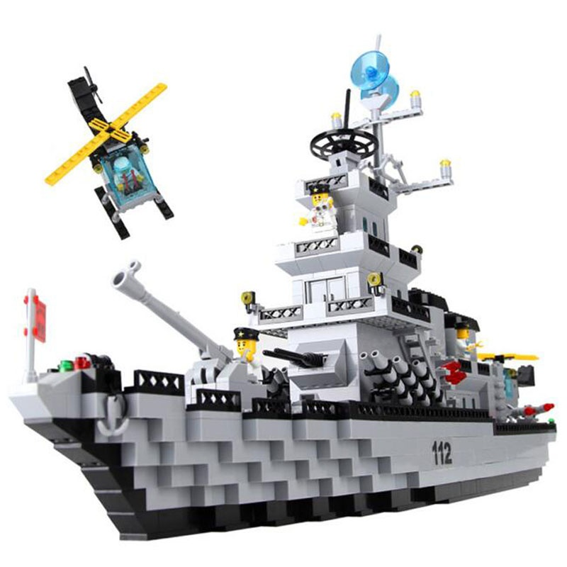 乐高式 启蒙112 巡洋战舰 舰艇系列 启蒙拼装拼插积木