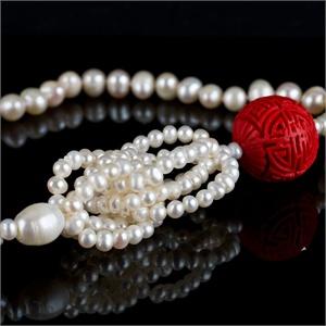 【御灵珠宝】海韵世家珍珠 雅色 朱砂珍珠长款项链毛衣链