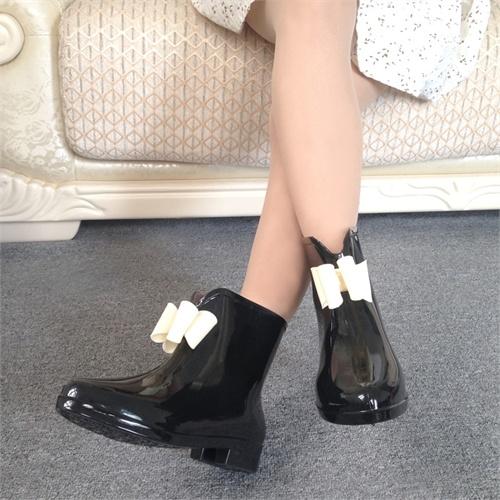 雨靴雨鞋女士雨鞋可爱蝴蝶结中筒防水鞋内增高橡胶鞋雨鞋礼品礼物