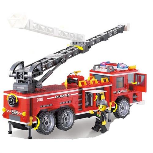 启蒙 小鲁班积木 乐高式拼装玩具 新品 消防-重型消防