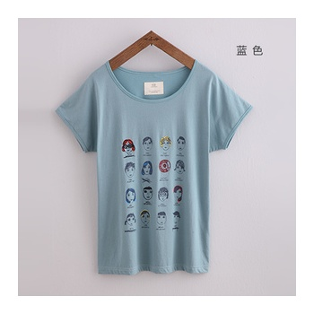 初语夏装新款手工刺绣涂鸦 图案 纯棉短袖t恤 250101009_蓝色,m(165