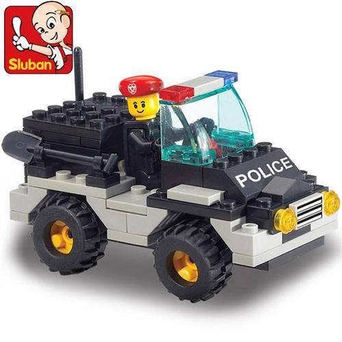 小鲁班 乐高式拼装积木 防爆特警 吉普车 88块 b800