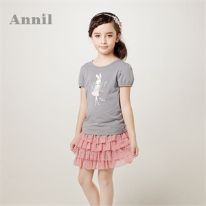 安奈儿童装 女童 短袖T恤 2014夏装新款圆领短袖针织衫 EG421153