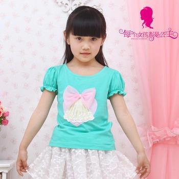 Deesha 笛莎 女童装夏装藏青色百搭短袖T恤2