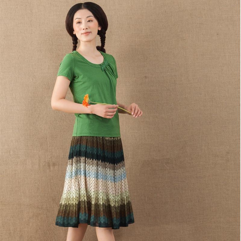 夏装新款女棉质领边花边拼贴抽褶