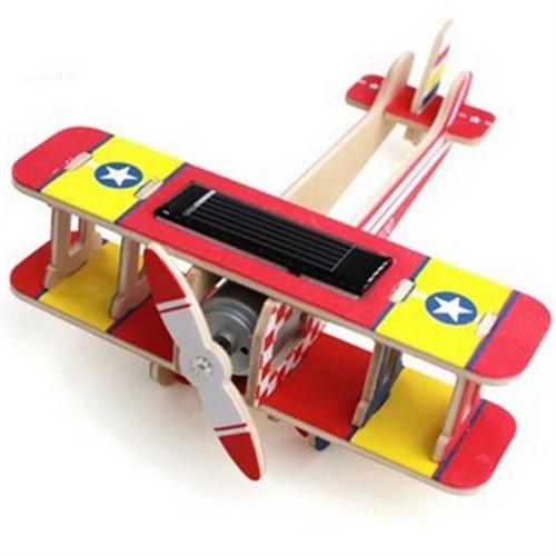 若态科技 diy手工制作 拼装模型木质太阳能玩具飞机模型 科教玩具