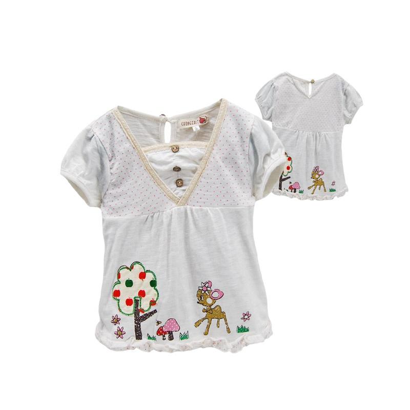 童装 可爱卡通小花鹿印花女童短袖t恤