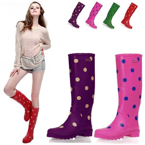 女式雨靴时尚印花高筒雨靴多色圆点雨鞋水鞋水靴礼品礼物