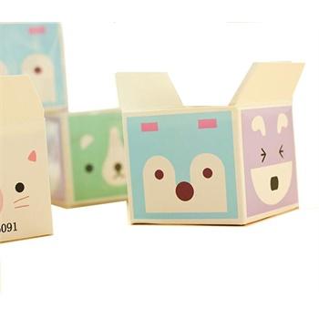 创意萌物方形盒装便条纸 可爱小动物便签纸 留言条 韩国文具