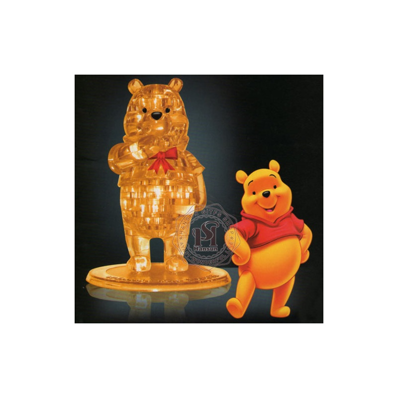 3d立体塑料水晶积木拼图维尼熊水晶模型益智玩具创意