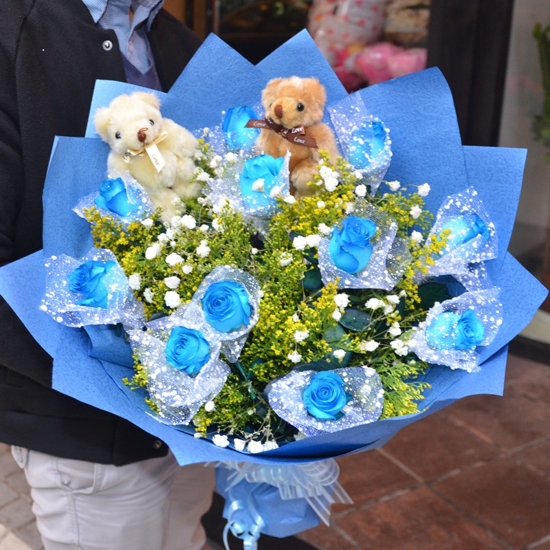 中礼鲜花速递 19朵蓝色妖姬 女友生日礼物 蓝玫瑰花束 全国订花图片