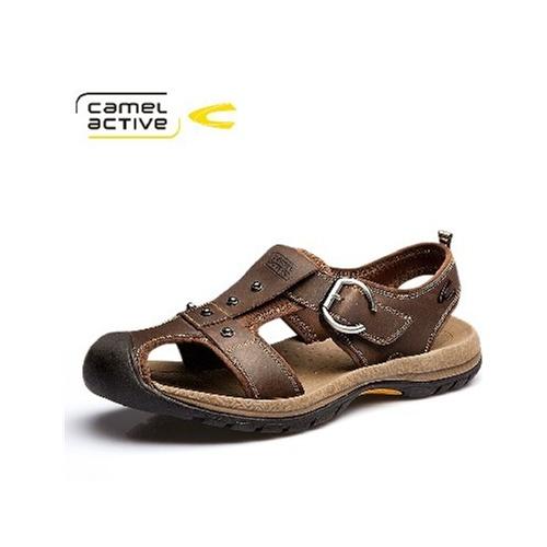 骆驼动感CamelActive 正品男士凉鞋沙滩鞋 夏季潮流真皮凉鞋 男