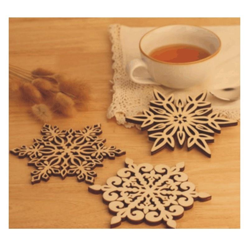 日照鑫 韩国文具木质雕刻镂空杯垫 复古雪花杯垫 隔热垫碗盘垫 3个装