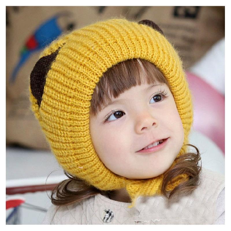 公主妈妈秋冬季童帽小猫耳朵造型帽套头帽宝宝毛线帽