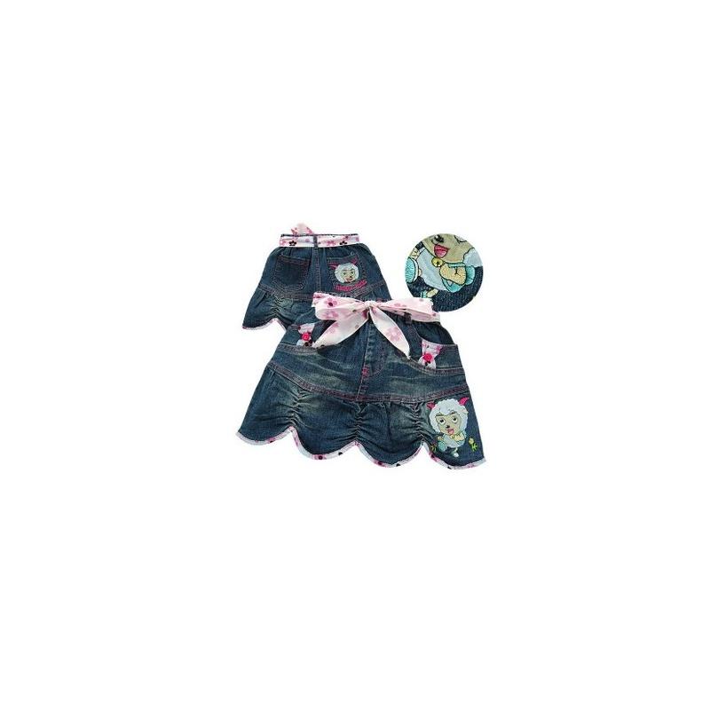 煜婴坊童装 韩版机绣美羊羊百褶小喇叭半身裙_5008深蓝色,110cm建议11