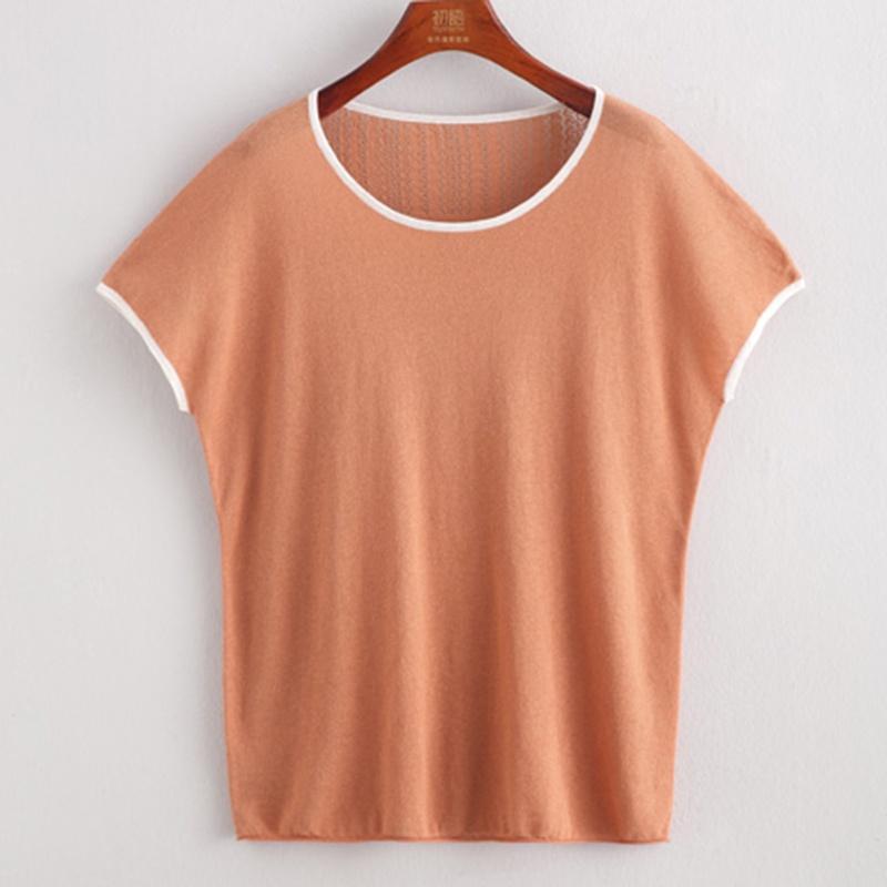 桔红圆领衣服怎么搭配