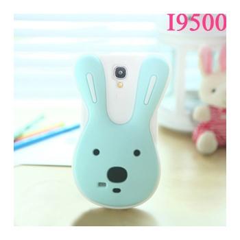 兔子 三星i9500砂糖兔保护壳 i9508手机壳 手机套 硅胶外壳_白底蓝脸