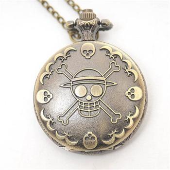 海盗骷髅复古雕花 男士石英怀表 数字挂表手表