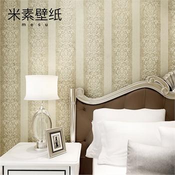 米素无纺布3d立体墙纸华庭欧式条纹墙纸高档环保卧室客厅背景墙壁纸