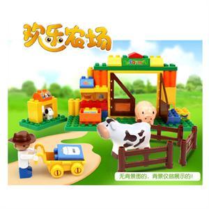 小鲁班 大颗粒桶装积木 欢乐农场乐高式拼装 儿童益智拼插玩具