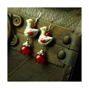 凤凰涅磐耳坠 女 天然红玛瑙可爱彩瓷小鸭 原创中国风配饰