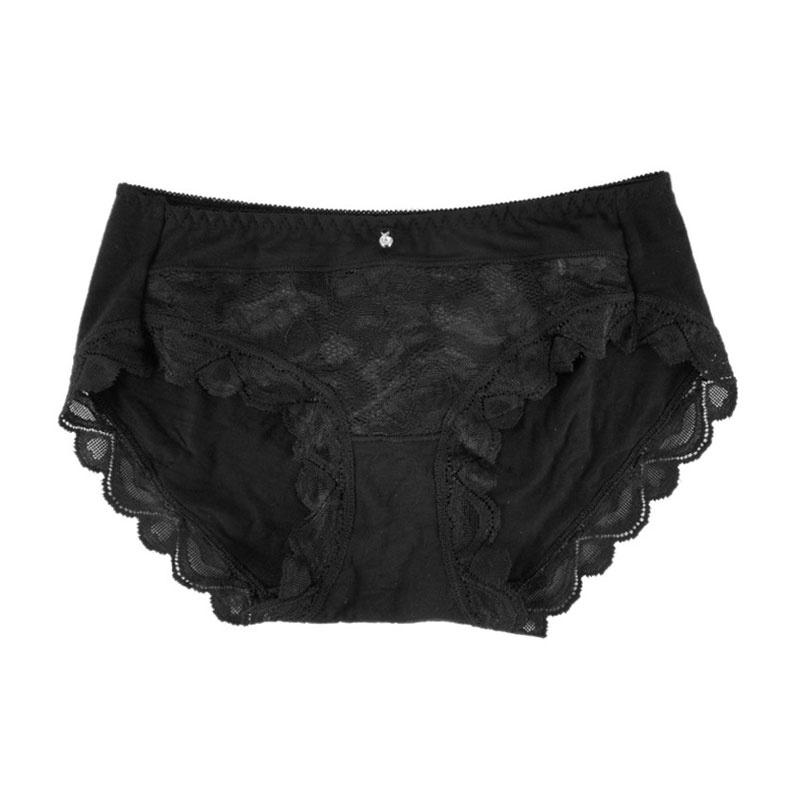 金丰田女士竹桨纤维三角内裤 性感无痕蕾丝半透明短裤 2224_黑色,xl