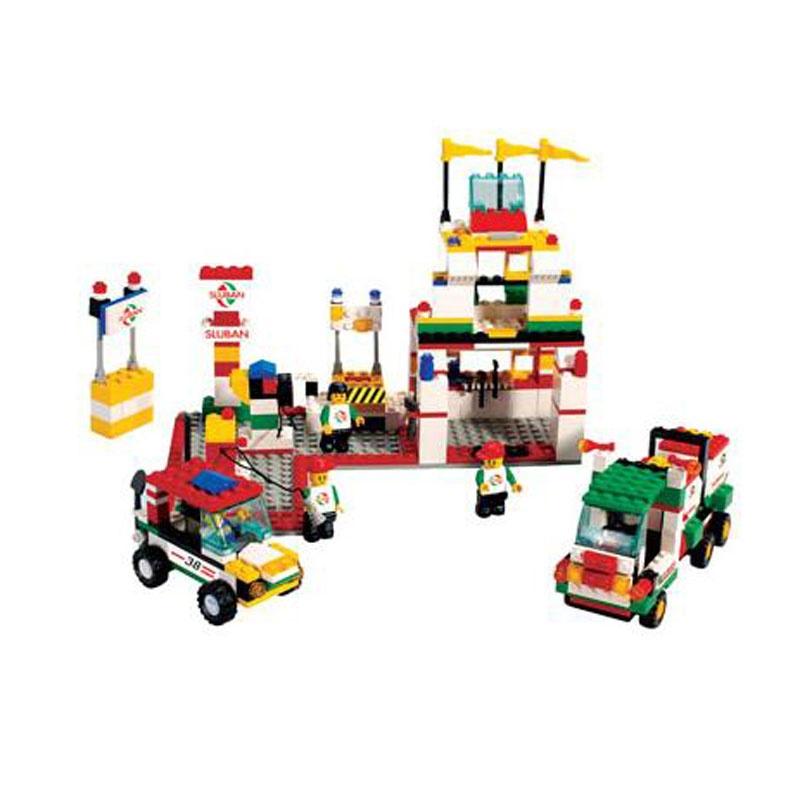 小鲁班乐高式 益智积木拼插玩具 拼装玩具 拼插模型 模拟城市-加油站b
