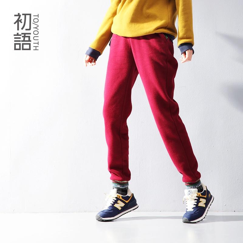 初语 春装新款民族风撞色花纹潮裤加绒哈伦裤346203019