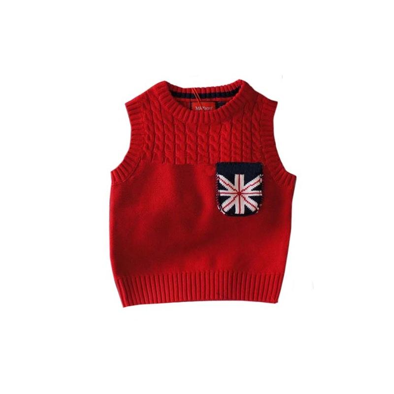 男童装 英伦风格男童背心儿童针织马甲棉线背心_红色,100cm(建议身高9