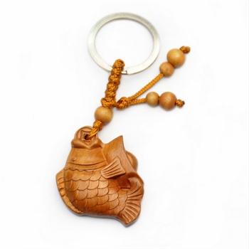 聚福木艺 辟邪木钥匙扣 雕刻连年有余2
