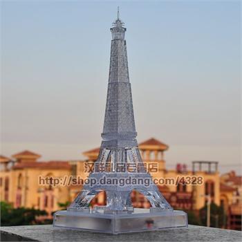 3d立体水晶拼图巴黎埃菲尔铁塔创意diy礼品led带灯