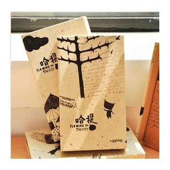 哈提 手绘优雅创意三折笔记本