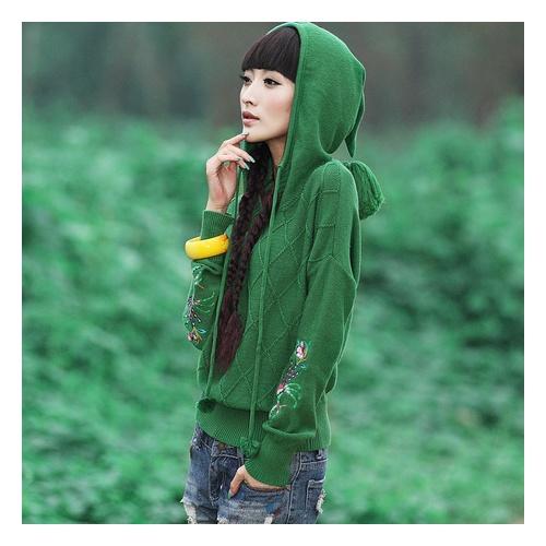 裂帛春装 绣花蝙蝠袖针织衫套头毛衣 女23160038 林间