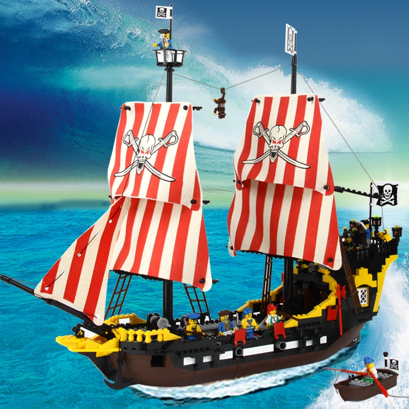 启蒙乐高式拼装积木黑珍珠号海盗船益智塑料拼插积木益智玩具