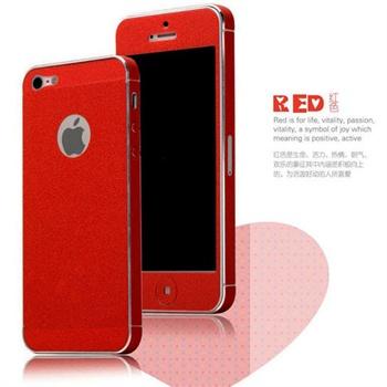 苹果iphone5s/5/4s炫彩手机贴纸/前机身保护膜+背膜+边框膜_红色