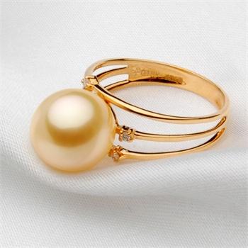 月婵10-11澳洲南洋金珠18k戒指镶真钻图片