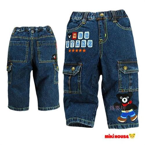 清仓特价 煜婴坊 冬季童装 卡通小动物双层摇粒绒加厚保暖牛仔长裤