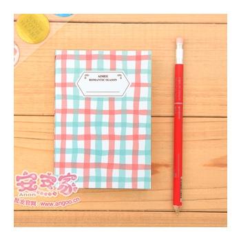 韩国文具 清新可爱格子花纹 横条笔记本 日记记事本子